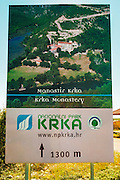 Entrance sign at the Krka Monastery, Krka National Park, Dalmatia, Croatia