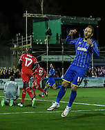Sean Rigg of AFC Wimbledon shows his frustration on missing an effort on goal during the FA Cup match at the Cherry Red Records Stadium, Kingston<br /> Picture by David Horn/Focus Images Ltd +44 7545 970036<br /> 05/01/2015