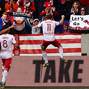 Dax McCarty, New York Red Bulls, celebrates in front of fans after scoring during the New York Red Bulls V Philadelphia Union, Major League Soccer regular season match at Red Bull Arena, Harrison, New Jersey. USA. 30th March 2013. Photo Tim Clayton