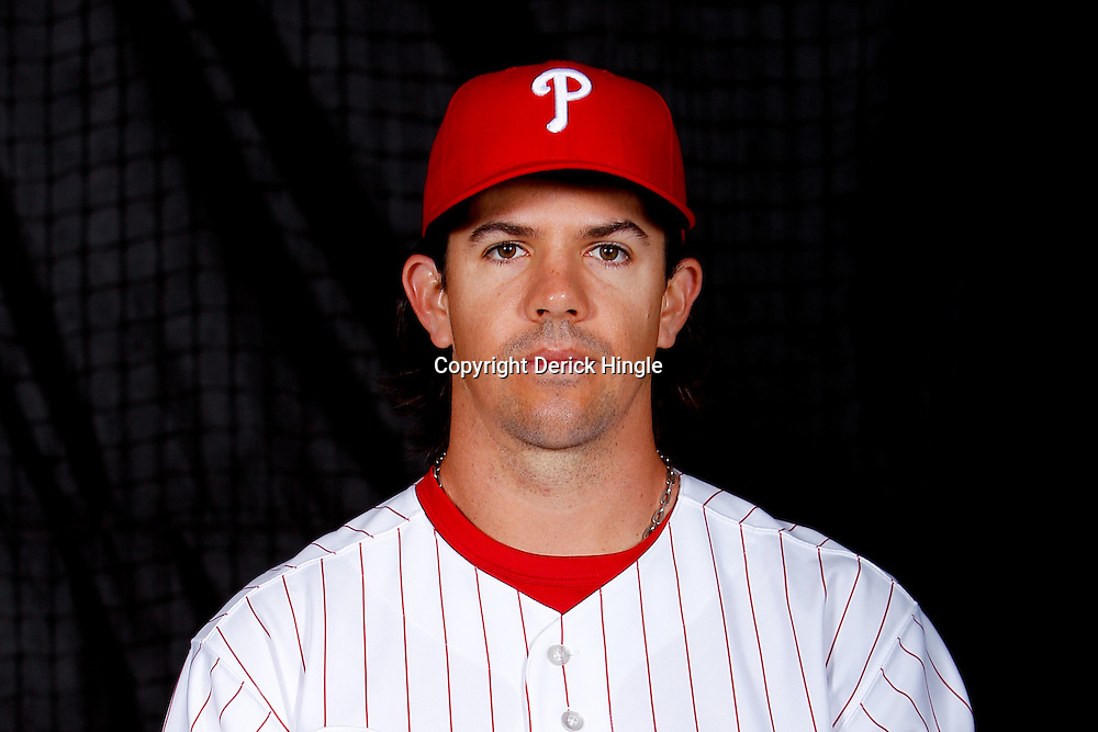 February 22, 2011; Clearwater, FL, USA; Philadelphia Phillies catcher Tuffy Gosewisch (77) poses during photo day at Bright House Networks Field. Mandatory Credit: Derick E. Hingle