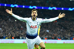 February 13, 2019 - London, England, United Kingdom - Tottenham forward Fernando Llorente celebrates his goal during the UEFA Champions League match between Tottenham Hotspur and Ballspielverein Borussia 09 e.V. Dortmund at Wembley Stadium, London on Wednesday 13th February 2019. (Credit: Jon Bromley | MI News & Sport Ltd) (Credit Image: © Mi News/NurPhoto via ZUMA Press)