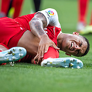 BARCELONA, SPAIN - August 18:  Diago Carlos #20 of Sevilla after taking a knock in the penalty area during the Espanyol V  Sevilla FC, La Liga regular season match at RCDE Stadium on August 18th 2019 in Barcelona, Spain. (Photo by Tim Clayton/Corbis via Getty Images)
