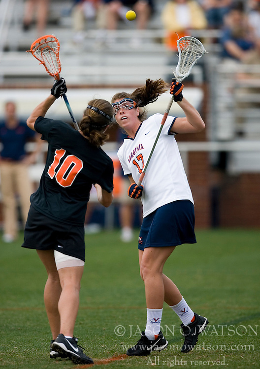 Virginia Cavaliers M Brittany Kalkstein (17) battles Princeton Tigers M Katie Lewis-Lamonica (10) for a face-off.  The Virginia Cavaliers women's lacrosse team defeated the Princeton Tigers 9-7 at Klockner Stadium in Charlottesville, VA on March 24, 2007.