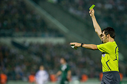 Referee Wolfgang Stark of Germany with yellow card  at  the 2010 FIFA World Cup South Africa Qualifying match between Slovakia and Slovenia, on October 10, 2009, Tehelne Pole Stadium, Bratislava, Slovakia. Slovenia won 2:0. (Photo by Vid Ponikvar / Sportida)