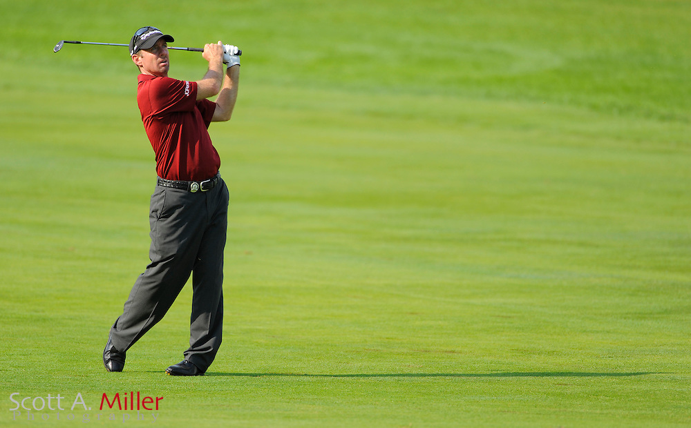 Aug 13, 2009; Chaska, MN, USA; Rod Pampling (AUS) hits his approach shot from the 7th fairway during the first round of the 2009 PGA Championship at Hazeltine National Golf Club.  ©2009 Scott A. Miller
