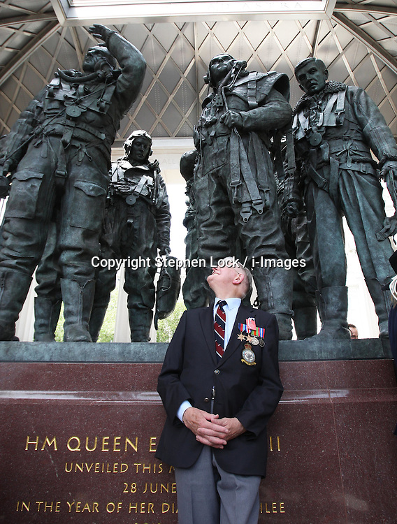 Bomber Command veteran Sid Marshall (88)  admires  the Bomber Command Memorial in Green Park, London after it's unveiling by The Queen,  Thursday 28th June 2012 Photo by: Stephen Lock / i-Images