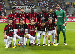 August 3, 2017 - Milan, Italy - AC Milan team line up before the UEFA Europa League Third Qualifying Round Second Leg match between AC Milan and CSU Craiova at Stadio Giuseppe Meazza on August 3, 2017 in Milan, Italy. (Credit Image: © Loris Roselli/NurPhoto via ZUMA Press)