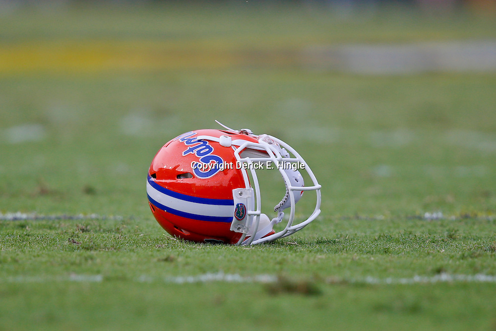 Oct 12, 2013; Baton Rouge, LA, USA; A Florida Gators helmet on the field during the second half of a game against the LSU Tigers at Tiger Stadium. LSU defeated Florida 17-6. Mandatory Credit: Derick E. Hingle-USA TODAY Sports