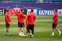Atletico de Madrid's players Koke Resurreccion, Filipe Luis, Saul Ñiguez and Antoine Griezmann during the practice session the day before the EUFA Champions League match between Atletico de Madrid and FC. Barcelona at Vicente Calderon in Madrid. April 13, 2016. (ALTERPHOTOS/Borja B.Hojas)