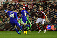David Nugent of Leicester City has a shot on goal during the Sky Bet Championship match at the City Ground, Nottingham<br />