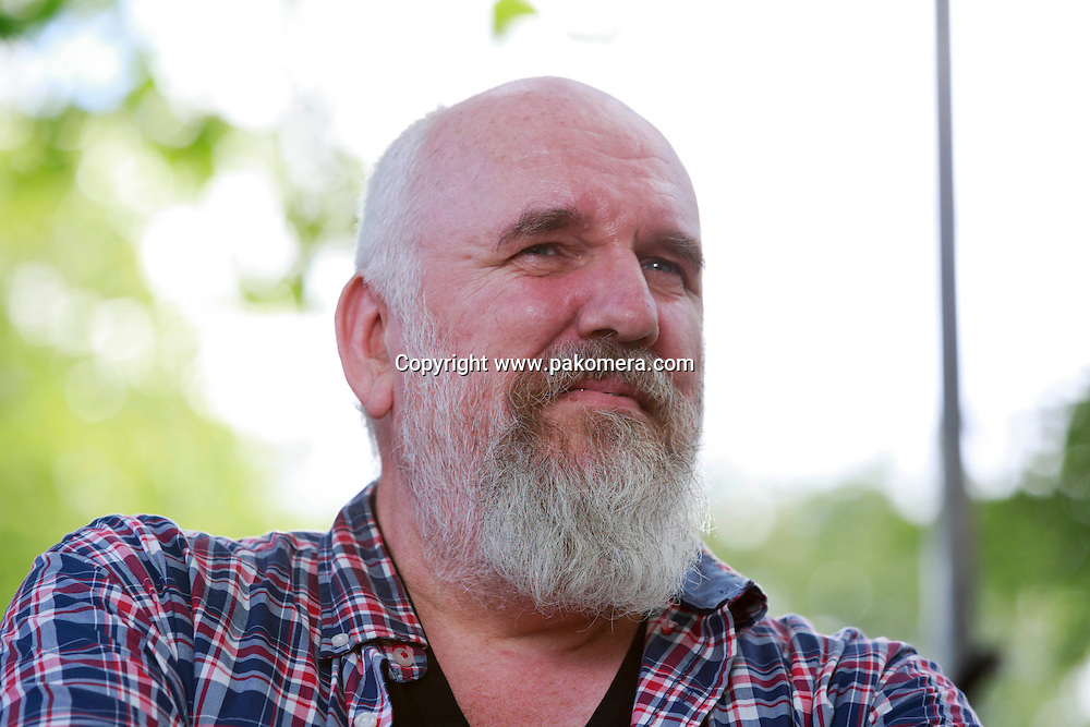Gerard Woodward who is a British novelist, poet and short story writer photographed in Edinburgh during the Edinburgh International Book Festival 2014