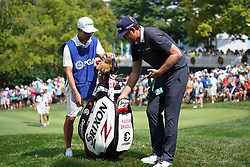 August 10, 2018 - St. Louis, Missouri, United States - Keegan Bradley (R) and his caddie Manuel Villegas on the 9th green during the second round of the 100th PGA Championship at Bellerive Country Club. (Credit Image: © Debby Wong via ZUMA Wire)