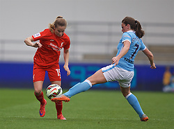 MANCHESTER, ENGLAND - Sunday, August 30, 2015: Liverpool's Ingrid Ryland in action against Manchester City during the League Cup Group 2 match at the Academy Stadium. (Pic by Paul Currie/Propaganda)