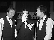 1980-05-01.1st May 1980.01-05-1980.05-01-80..Photographed at Goffs, Kill, Co Kildare..On Cue:..From left to right..Denis Taylor.Match referee.Alex Higgins..At the Benson and Hedges Irish Masters Snooker Competition.