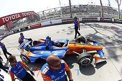 April 13, 2018 - Long Beach, California, United States of America - April 13, 2018 - Long Beach, California, USA: Scott Dixon (9) zooms out of his pit box and on to pit road during practice for the Toyota Grand Prix of Long Beach at Streets of Long Beach in Long Beach, California. (Credit Image: © Justin R. Noe Asp Inc/ASP via ZUMA Wire)