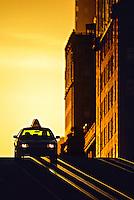 A taxi atop Nob Hill on California Street, San Francisco, California USA