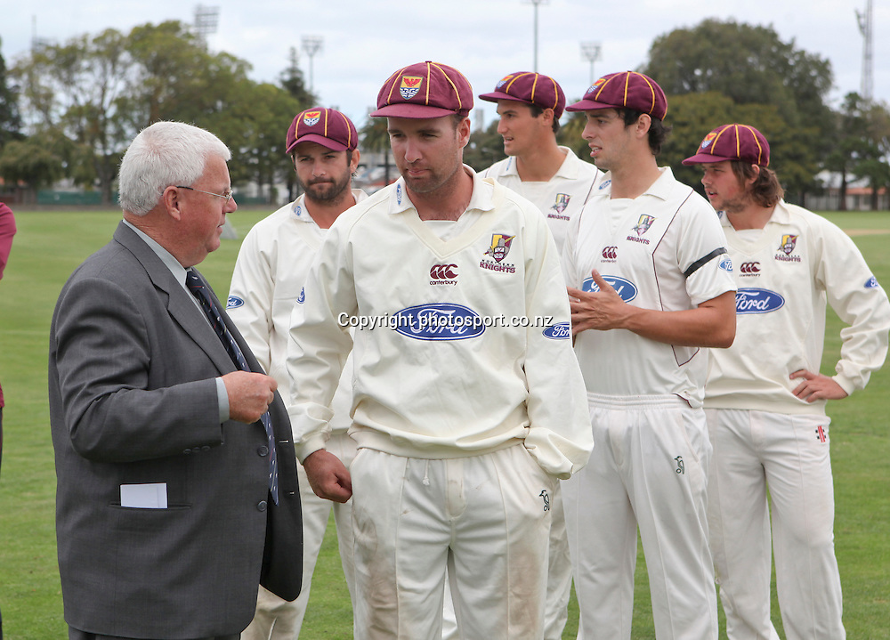 Denis Currie, President of NZC, speaks to Brad Wilson before Northern Districts Knights are presented with their winners medals and the Plunket Shield after winning the series , Nelson Park, Napier, New Zealand. Thursday 29 March, 2012. Photo: John Cowpland / photosport.co.nz