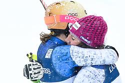 10.02.2017, St. Moritz, SUI, FIS Weltmeisterschaften Ski Alpin, St. Moritz 2017, alpine Kombination, Damen, Slalom, im Bild Michelle Gisin (SUI, Silbermedaille Alpine Kombination der Damen) und Wendy Holdener (SUI, Weltmeister und Goldmedaille Alpine Kombination der Damen) // ladie's Alpin Combined Silver medalist Michelle Gisin of Switzerland and ladie's Alpin Combined Goldmedalist and World Champion Wendy Holdener of Switzerland react after their run of Slalom competition for the ladie's Alpine combination of the FIS Ski World Championships 2017. St. Moritz, Switzerland on 2017/02/10. EXPA Pictures © 2017, PhotoCredit: EXPA/ Erich Spiess