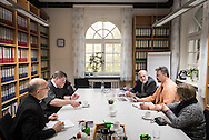 (L-R) SELK Bishop Hans-Jörg Voigt, the Rev. James Krikava, OIM regional director for Eurasia, the Rev. Thomas Seifert, pastor of Paul-Gerhardt Gemeinde, a SELK Lutheran church in Braunschweig, Germany, Roger Drinnon of LCMS Communications, and Deaconess Pamela Nielsen, also of LCMS Communications, talk during a planning meeting at the SELK headquarters on Thursday, Nov. 12, 2015, in Hannover, Germany. LCMS Communications/Erik M. Lunsford