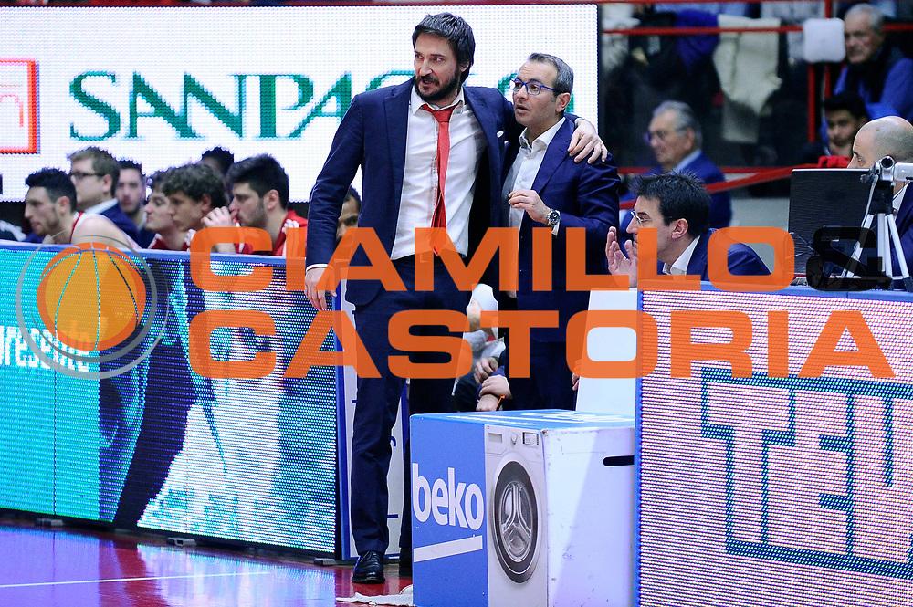 DESCRIZIONE : Varese Lega A 2014-2015 Openjob Metis Varese Consultinvest Pesaro<br /> GIOCATORE : Gianmarco Pozzecco Ugo Ducarello<br /> CATEGORIA : delusione<br /> SQUADRA : Openjob Metis Varese<br /> EVENTO : Campionato Lega A 2014-2015<br /> GARA : Openjob Metis Varese Consultinvest Pesaro<br /> DATA : 01/02/2015<br /> SPORT : Pallacanestro<br /> AUTORE : Agenzia Ciamillo-Castoria/Max.Ceretti<br /> GALLERIA : Lega Basket A 2014-2015<br /> FOTONOTIZIA : Varese Lega A 2014-2015 Openjob Metis Varese Consultinvest Pesaro<br /> PREDEFINITA :