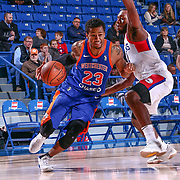 Westchester Knicks Guard TREY BURKE (23) bring the ball down the floor in the second half of a NBA G-league regular season basketball game between the Delaware 87ers and the Westchester Knicks (New York Knicks) Tuesday, Nov. 07, 2017, at The Bob Carpenter Sports Convocation Center in Newark, DEL