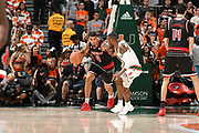 January 24, 2018: Quentin Snider #4 of Louisville in action during the NCAA basketball game between the Miami Hurricanes and the Louisville Cardinals in Coral Gables, Florida. The 'Canes defeated the Cardinals 78-75.