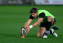 Ospreys James Hook during the pre match warm up<br /> <br /> Photographer Simon King/Replay Images<br /> <br /> Guinness PRO14 Round 19 - Ospreys v Leinster - Saturday 24th March 2018 - Liberty Stadium - Swansea<br /> <br /> World Copyright © Replay Images . All rights reserved. info@replayimages.co.uk - http://replayimages.co.uk