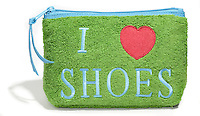 i heart shoes green terrycloth bag