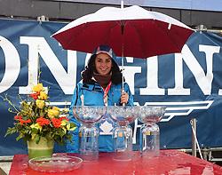 Hostess and trophies before the 1st Run of Men's Slalom - Pokal Vitranc 2013 of FIS Alpine Ski World Cup 2012/2013, on March 10, 2013 in Vitranc, Kranjska Gora, Slovenia.  (Photo By Matic Klansek Velej / Sportida.com)