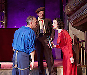 The Sting <br /> at the newly re-opened<br /> Wilton's Music Hall, London, Great Britain <br /> Press photocall <br /> 11th September 2015 <br /> <br /> Ross Forder as Hooker <br /> <br /> Bob Cryer as Gondorff<br /> <br /> Hannah Brackstone-Brown as Billie <br /> <br /> Photograph by Elliott Franks <br /> Image licensed to Elliott Franks Photography Services