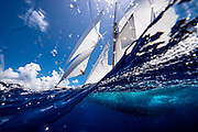 Adventuress sailing in the Old Road Race of the Antigua Classic Yacht Regatta.