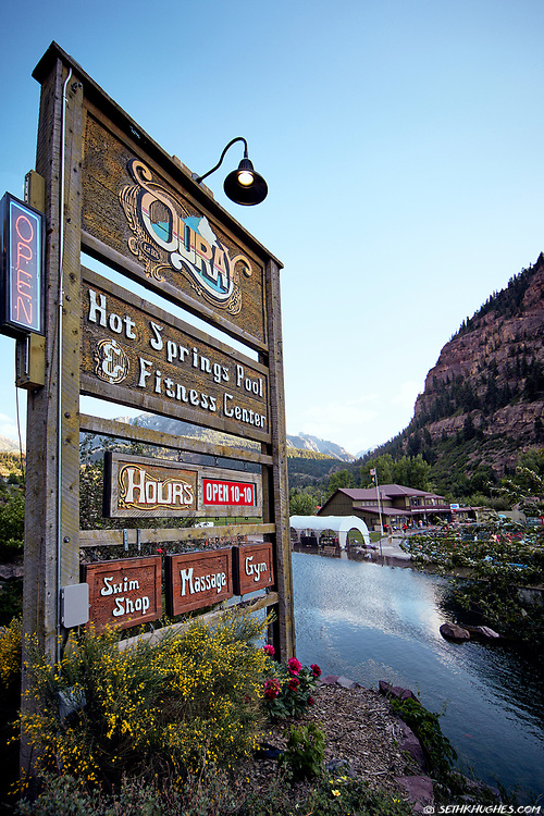 The Ouray Hot Springs sign in Ouray, Colorado.