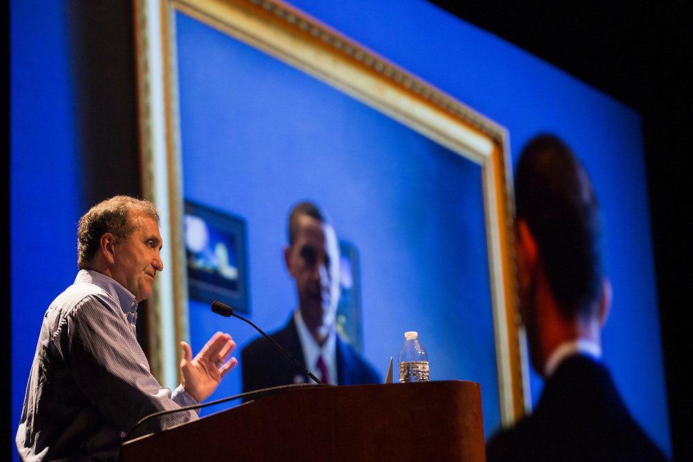 Pete Souza talks about being Barack Obama's presidential photographer during his Kennedy Lecture on September 19, 2017.