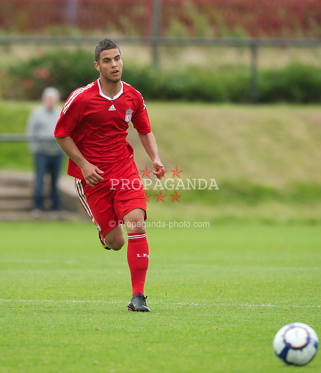 LIVERPOOL, ENGLAND - Saturday, September 26, 2009: Liverpool's Nikola Saric in action against Manchester City during the FA Premier Academy League match at the Kirkby Academy. (Pic by David Rawcliffe/Propaganda)