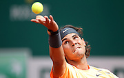 18.APRIL.2012. MONACO<br /> <br /> WORLD NO. 2 RAFAEL NADAL OPENED HIS BID FOR A RECORD EIGHTH SUCCESSIVE MONTE-CARLO ROLEX MASTERS CROWN ON WEDNESDAY WITH A 6-4, 6-3 WIN OVER FINLAND'S JARKKO NIEMINEN.<br /> <br /> BYLINE: EDBIMAGEARCHIVE.COM<br /> <br /> *THIS IMAGE IS STRICTLY FOR UK NEWSPAPERS AND MAGAZINES ONLY*<br /> *FOR WORLD WIDE SALES AND WEB USE PLEASE CONTACT EDBIMAGEARCHIVE - 0208 954 5968*