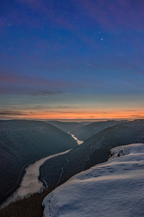Twlight begins to draw her curtain up over the chilly New River as night turns into day at Grandview, West Virginia