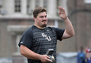 Apr 27, 2018; Philadelphia, PA, USA; Austin Droogsma of Florida State poses after winning the shot put during the 124th Penn Relays at Franklin Field.