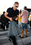 Real Madrid's Karim Benzema in Barajas' Airport in the begin of USA tour.August 6 2009.