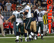 Philadelphia Eagles tight end Mike Bartrum (88) celebrates with his teammates after catching a fourth quarter touchdown, during the Eagles 17-16 win at the Edward Jones Dome in St. Louis, Missouri, December 18, 2005.