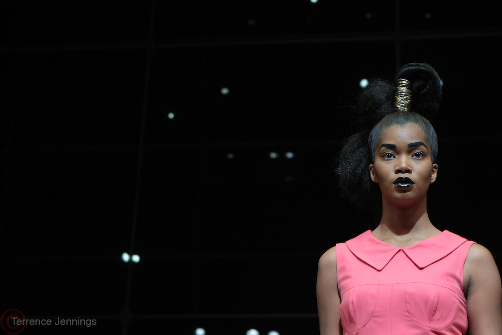 6 September 2013- New York, NY: A model wears designs by Espion at the Harlem Fashion Row 2013 Spring Presentation held at Jazz at Lincoln Center on September 6, 2013 in New York City. ©Terrence Jennings