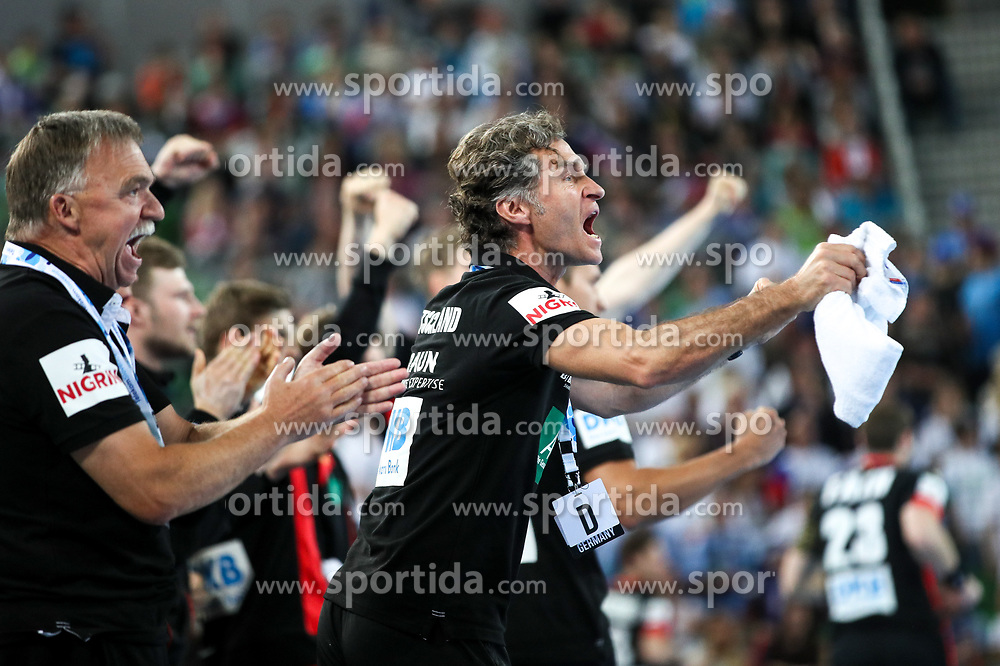 Bench of Germany celebrate during handball match between National Teams of Slovenia and Germany in 2018 Men's World Championship Qualifications, on May 3, 2017 in SRC Stozice, Ljubljana, Slovenia. Photo by Morgan Kristan / Sportida