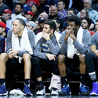 03 February 2016: Minnesota Timberwolves forward Tayshaun Prince (12), Minnesota Timberwolves guard Ricky Rubio (9) Minnesota Timberwolves guard Andrew Wiggins (22) and Minnesota Timberwolves center Karl-Anthony Towns (32) are seen on the bench during the Minnesota Timberwolves 108-102 victory over the Los Angeles Clippers, at the Staples Center, Los Angeles, California, USA.