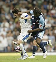 Photo: Aidan Ellis.<br /> Leeds United v Swansea City. Coca Cola League 1. 22/09/2007.<br /> Swansea's Jason Scotland challenges Leeds Johnathon Douglas