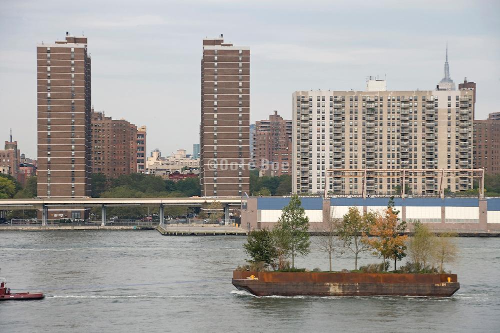 Robert Smithson's Floating Island travels around Manhattan 2005