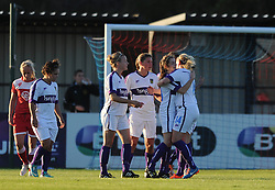 Oxford United's Lauren Allison celebrates with her team mates after scoring - Mandatory byline: Dougie Allward/JMP - 07966386802 - 27/08/2015 - FOOTBALL - Stoke Gifford Stadium -Bristol,England - Bristol Academy Women FC v Oxford United Women - FA WSL Continental Tyres Cup