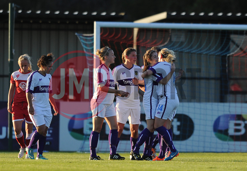 Oxford United's Lauren Allison celebrates with her team mates after scoring - Mandatory byline: Dougie Allward/JMP - 07966386802 - 27/08/2015 - FOOTBALL - Stoke Gifford Stadium -Bristol,England - Bristol Academy Women FC v Oxford United Women - FA WSL Continental Tyres Cup