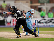Reema Malhotra is run out by wicket keeper Rachel Priest during the ICC Women's World Twenty20 Cup semi-final between New Zealand and India at Trent Bridge. Photo © Graham Morris (Tel: +44(0)20 8969 4192 Email: sales@cricketpix.com)