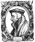 Jean Calvin (1509-1564) French theologian. Protestant reformer. He settled in Geneva and was leading figure in the Protestant Reformation. Gave his name to the strict form of Protestantism, Calvinism. Woodcut, 1581