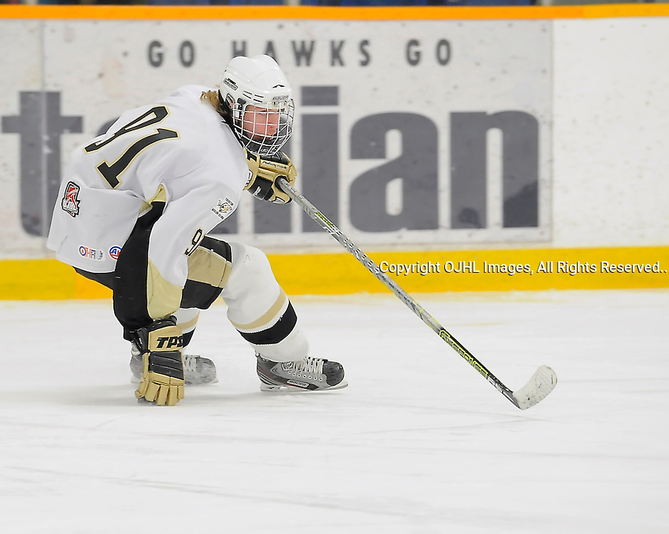 TRENTON, ON - Feb 15 : Ontario Junior League Action between Pickering Panthers at Trenton Golden Hawks, Shawn Mackie #91 of the Trenton Golden Hawks during first period game action.(Photo by Amy Deroche / OJHL Images)