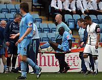 Photo: Rich Eaton.<br /> <br /> Coventry City v Preston North End. Coca Cola Championship. 14/04/2007. Khalilou Fadiga leaves the field on a stretcher in the second half